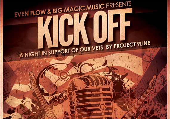 Kick Off Flyer<br>A Night in Support of Our Vets<br>Client: Project 9 Line