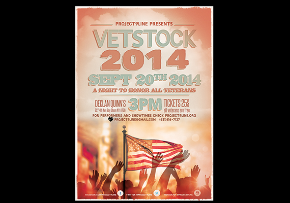 Vet Stock Flyer<br>A Night to Honor all Vets<br>Client: Project 9 Line